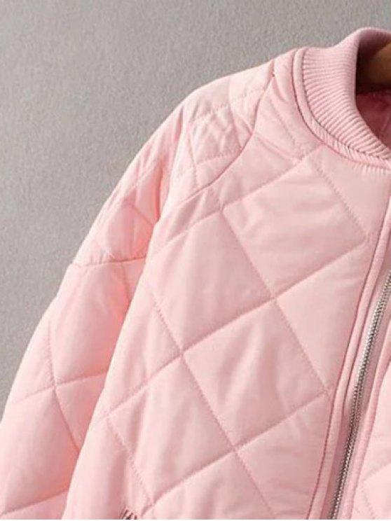 Argyle Stand Neck Solid Color Jacket - PINK L Mobile