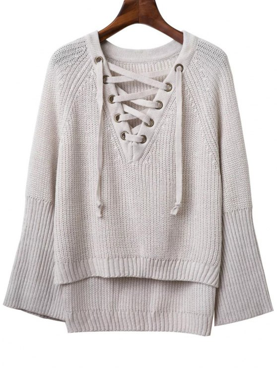 shops Lace Up V Neck Long Sleeve Sweater - LIGHT GRAY ONE SIZE