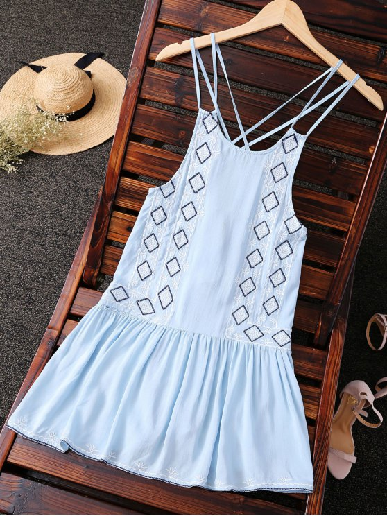 outfits Embroidered Crisscross Strap Dress - LIGHT BLUE S