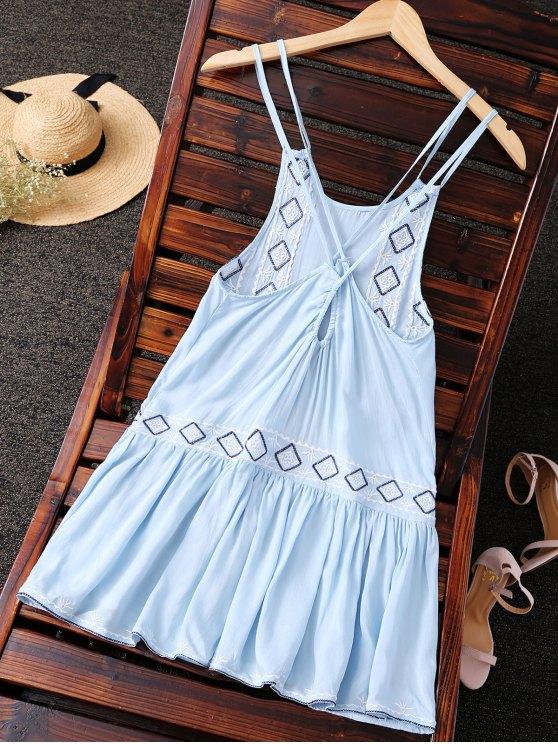Embroidered Crisscross Strap Dress - LIGHT BLUE S Mobile