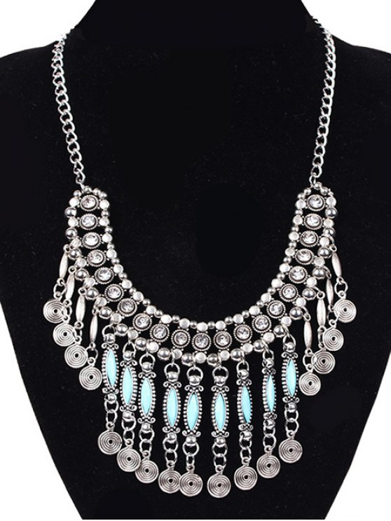 trendy Coin Tassel Faux Gem Necklace - SILVER