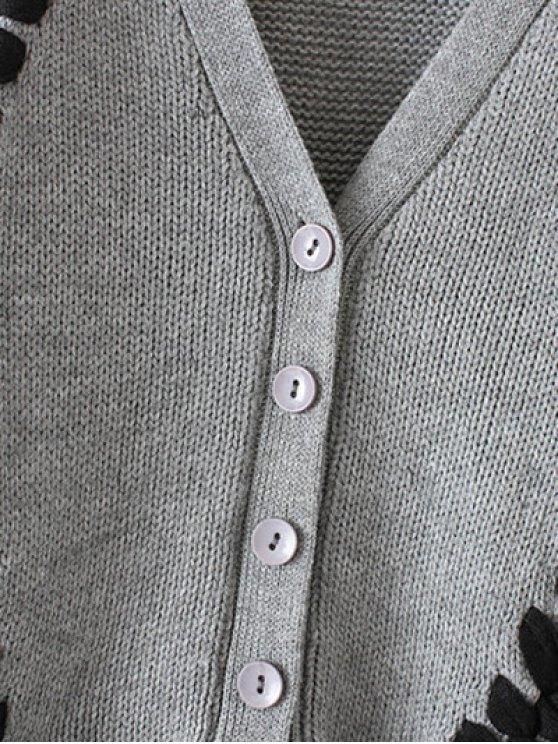 Twist Braided V Neck Long Sleeve Cardigan - GRAY ONE SIZE Mobile