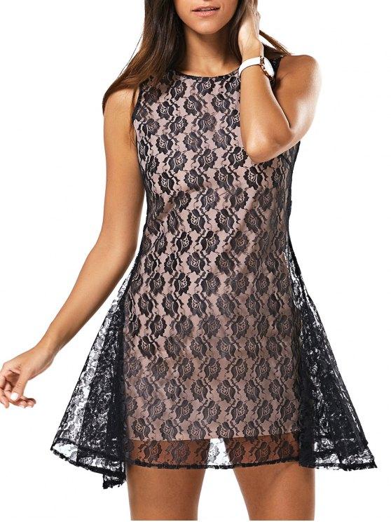 Ronda de encaje completa Vestido sin mangas de cuello - Negro M