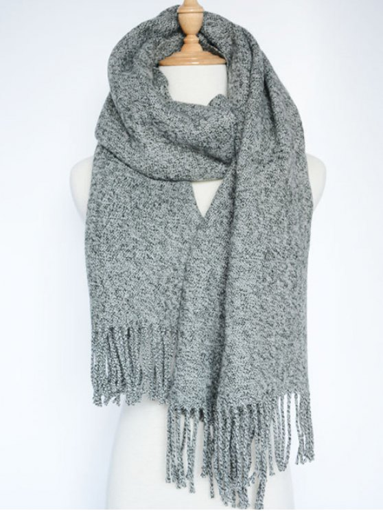 women Tassel Knitted Wrap Scarf - GRAY