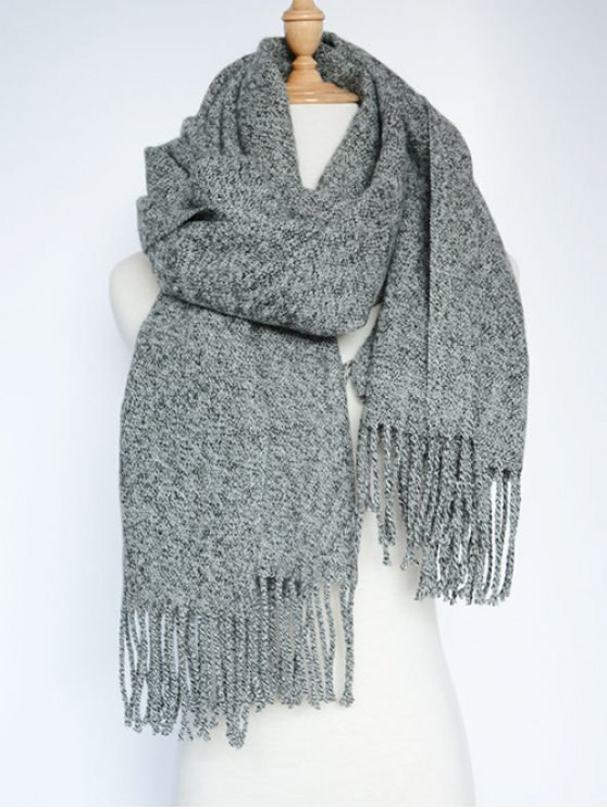 Tassel Knitted Wrap Scarf - GRAY  Mobile