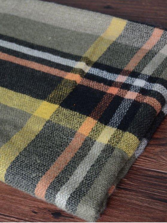 Tartan Pattern Shawl Scarf - BLACKISH GREEN  Mobile