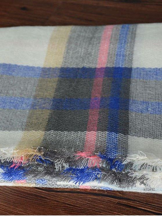 Tartan Square Shawl Scarf - SAPPHIRE BLUE  Mobile