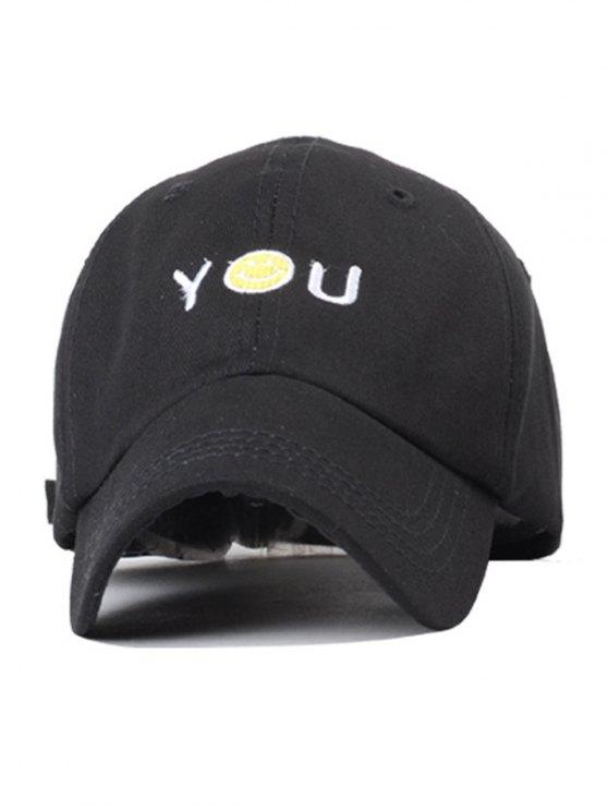Smiley Embroidery Baseball Hat - BLACK  Mobile