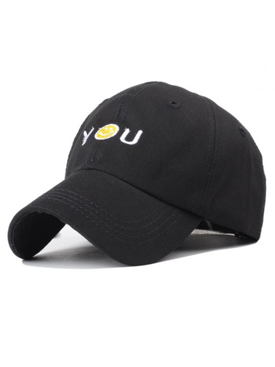 fashion Smiley Embroidery Baseball Hat - BLACK