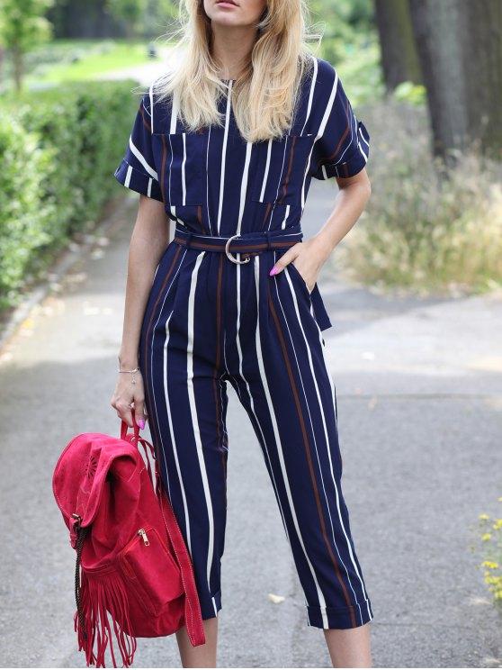 shops Striped Round Neck Short Sleeve Jumpsuit - STRIPE S