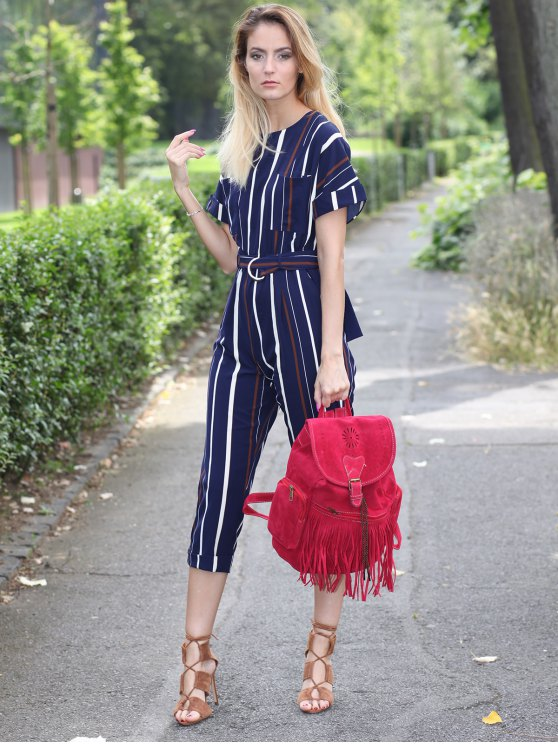 Striped Round Neck Short Sleeve Jumpsuit - STRIPE M Mobile
