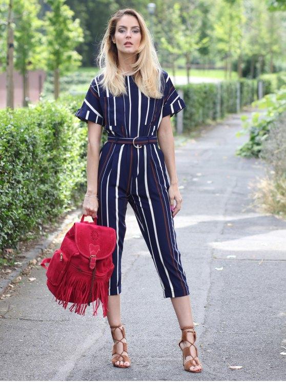 Striped Round Neck Short Sleeve Jumpsuit - STRIPE L Mobile