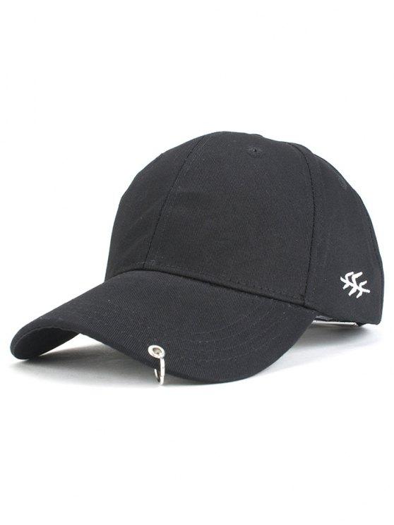 new Metal Ring Baseball Hat - BLACK