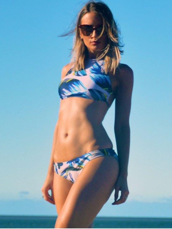 Print Halter Neckline Bikini Set - WHITE M Mobile