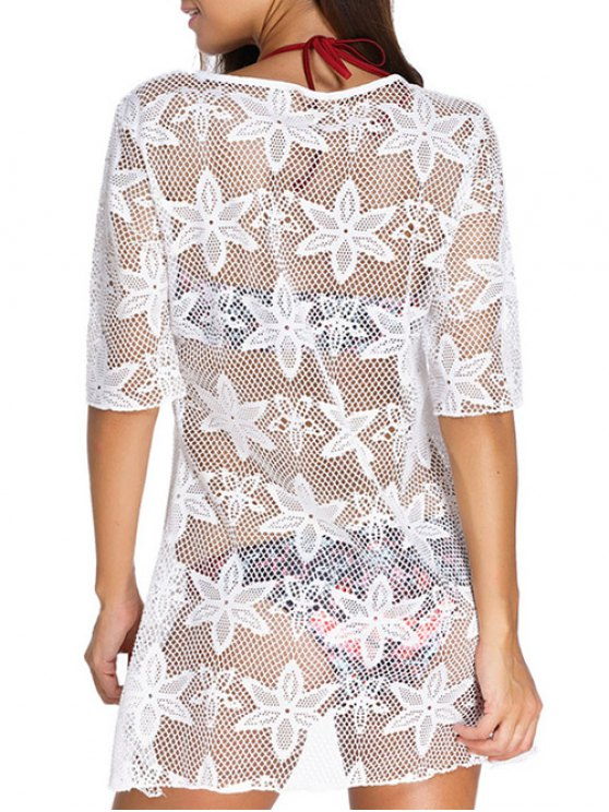 Hollow Out V Neck Cover Up Dress - WHITE M Mobile