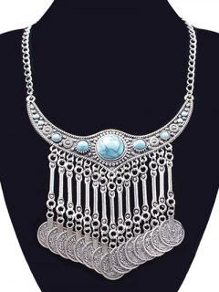 Faux Turquoise Necklace - Silver