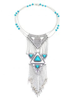 Faux Turquoise Triangle Necklace - Silver