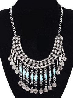 Coin Tassel Faux Gem Necklace - Silver