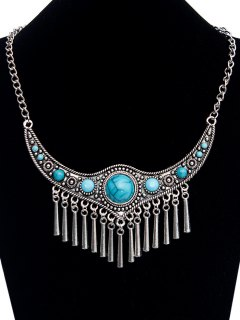 Emboss Faux Turquoise Necklace - Silver
