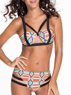 Argyle Pattern Spaghetti Strap Bikini Set - M