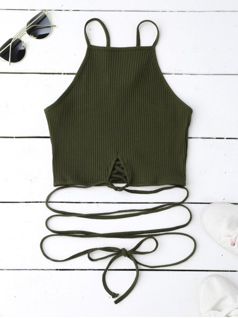 women's Spaghetti Straps Strappy Tank Top - BLACKISH GREEN S Mobile