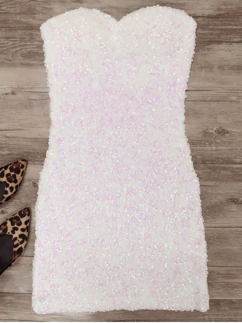 affordable Mini Slip Sequins Dress - WHITE ONE SIZE Mobile