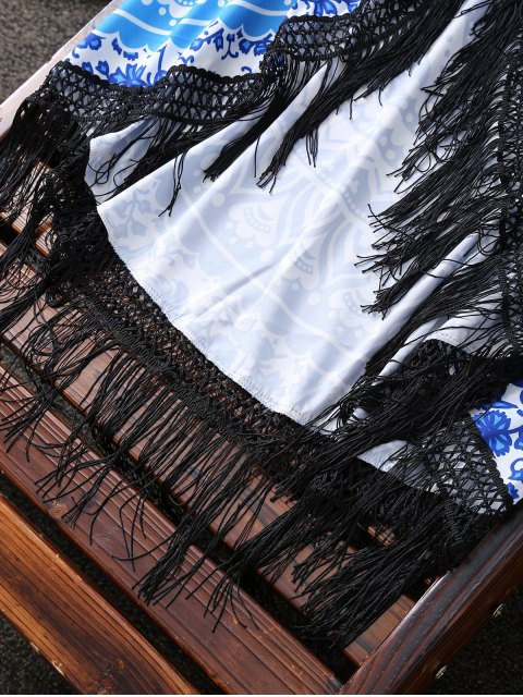 buy Flower Print Fringed Beach Throw - BLUE AND WHITE ONE SIZE(FIT SIZE XS TO M) Mobile