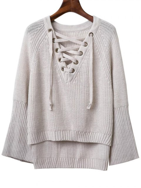 shops Lace Up V Neck Long Sleeve Sweater - LIGHT GRAY ONE SIZE Mobile