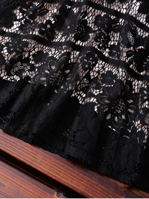 ladies Open Back Prom Dress - BLACK L Mobile