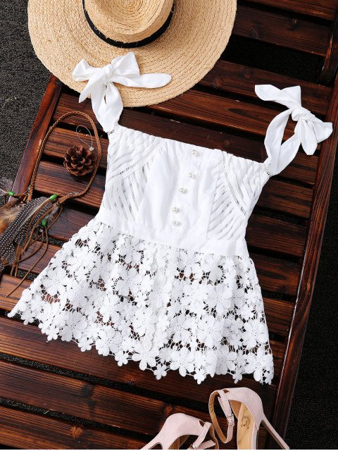 womens Bare Shoulder Lace Top - WHITE S Mobile