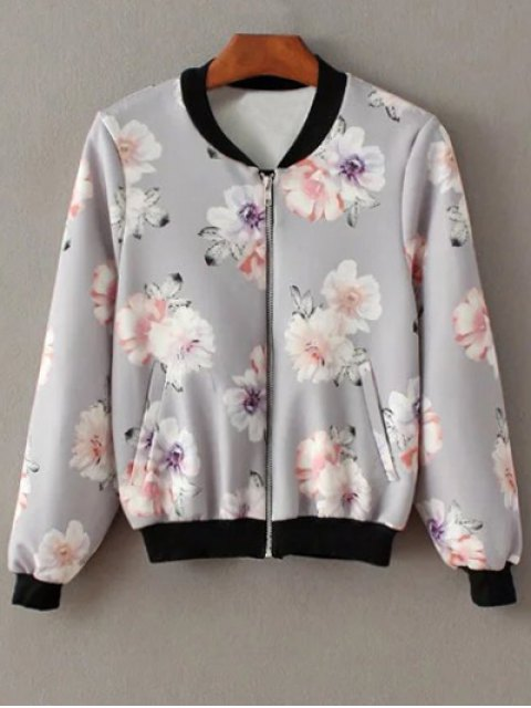 shop Floral Print Stand Neck Jacket - GRAY M Mobile