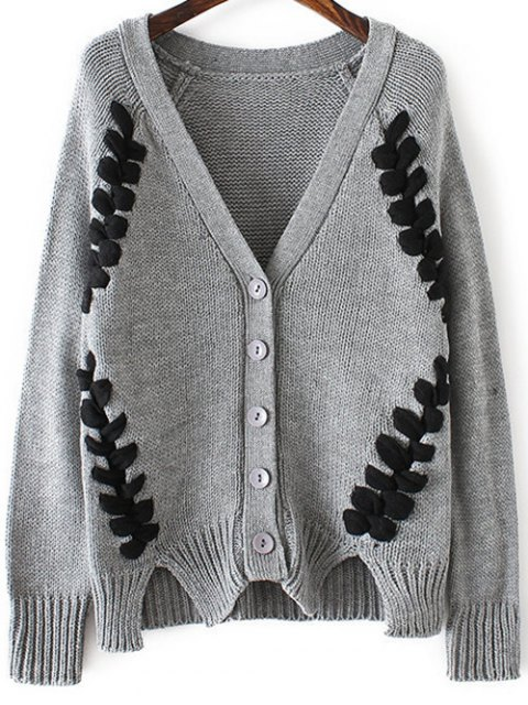 unique Twist Braided V Neck Long Sleeve Cardigan - GRAY ONE SIZE Mobile