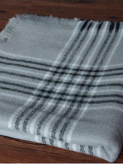 womens Plaid Pattern Shawl Scarf - GRAY  Mobile