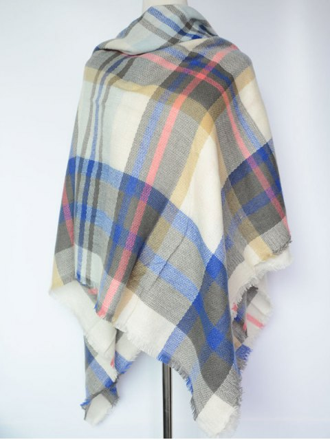 hot Tartan Square Shawl Scarf - SAPPHIRE BLUE  Mobile