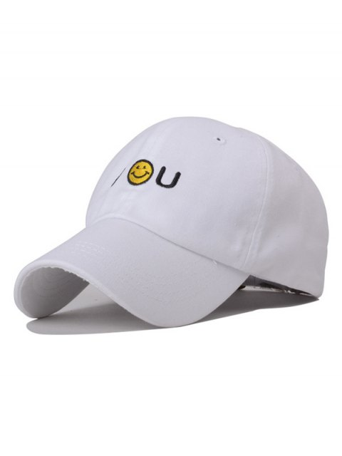 trendy Smiley Embroidery Baseball Hat - WHITE  Mobile