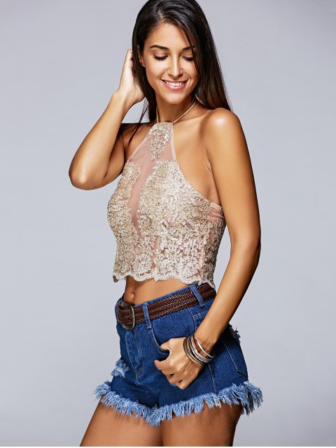 outfits Lace Halter See-Through Backless Tank Top - GOLDEN L Mobile