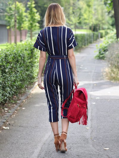 Striped Round Neck Short Sleeve Jumpsuit - STRIPE L Mobile