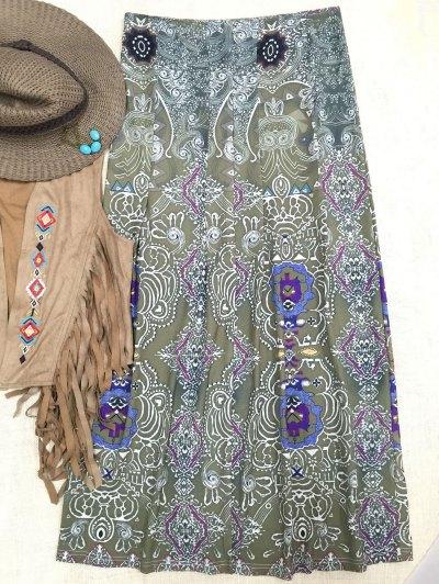 Bohemian Printed Long Skirt - GREEN XL Mobile