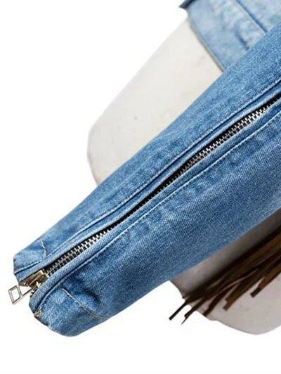 Tassels Spliced Shirt Collar Denim Jacket - BLUE XL Mobile