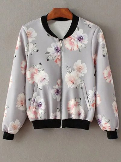 Floral Print Stand Neck Jacket - GRAY M Mobile