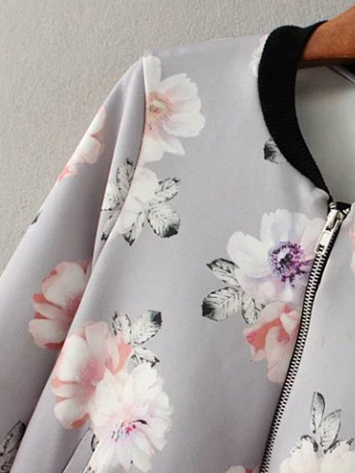 Floral Print Stand Neck Jacket - GRAY S Mobile