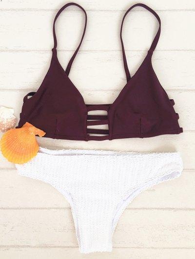 Escotado Teeny Bikini Set - Rojo Con Blanco