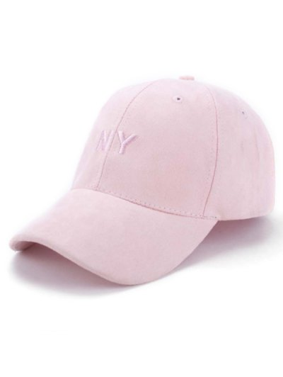 Faux Suede Baseball Hat - Pink