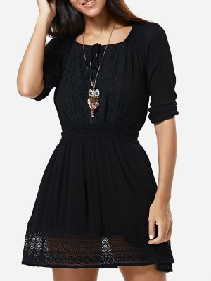 Lace Spliced Round Neck 3/4 Sleeve Waisted Dress - Black