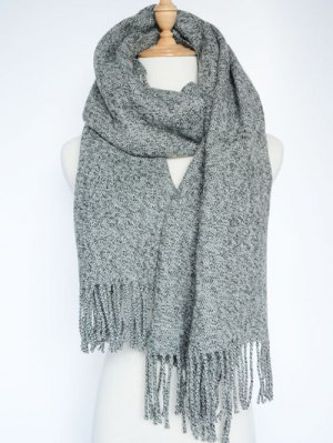 Tassel Knitted Wrap Scarf - Gray