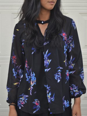 V-Neck Colorful Floral Print  Shirt - Black
