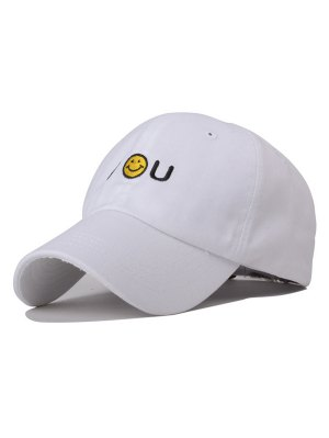 Smiley Embroidery Baseball Hat - White