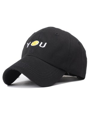 Smiley Embroidery Baseball Hat - Black