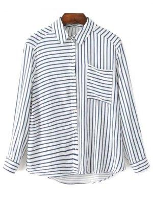 Striped Shirt Collar Long Sleeve Pocket Shirt - Blue And White