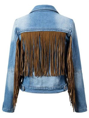 Tassels Spliced Shirt Collar Denim Jacket - Blue